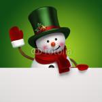 Подложка под баннер - снеговик на зелёном фоне (1)