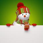 Подложка под баннер - снеговик на зелёном фоне (3)