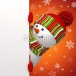 Подложка под баннер - снеговик на красном фоне (2)