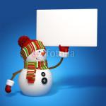 Подложка под баннер - снеговик на синем фоне (2)
