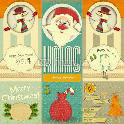 Изящные новогодние баннеры в ретро стиле (6)