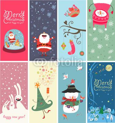 Серия новогодних баннеров с забавными рисунками (3)