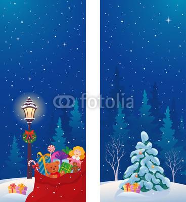 Сине голубые новогодние баннеры (8)