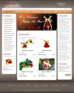 Магазин рождественских товаров. 3 колонки. Цветовая гамма - белый, серый, бежевый. Формат HTML