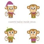 4 одинаковых обезьянки в разных нарядах