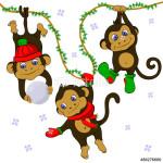 3 обезьяны играют в снежки