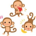 3 обезьяны: одна поёт, вторая ест яблока, а третья - банан