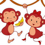 Обезьянка мальчик и обезьянка девочка собираются съесть банан