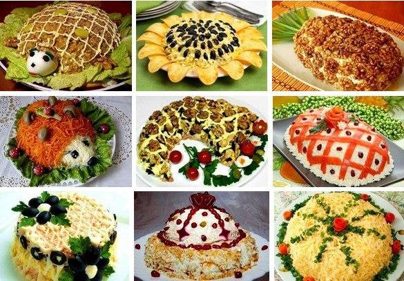видео рецепты салатов на праздничный стол видео