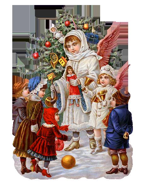 Новогодние открытки. Великолепная рождественская открытка на белом фоне, которую можно использовать как рождественский клипарт. Рождественская открытка может быть использована Вами по прямому назначению, либо может стать основой для создания Вашей собственной рождественской открытки. Ведь всегда приятно получить подарок или открытку, сделанную своими руками. А фотошоп поможет сделать рождественскую открытку качественно и интересно. Здесь мы видим украшенную рождественскую ель, возле которой собрались детишки, а ангел Рождества дарит им разные подарки. Это замечательный сюжет для рождественской открытки.