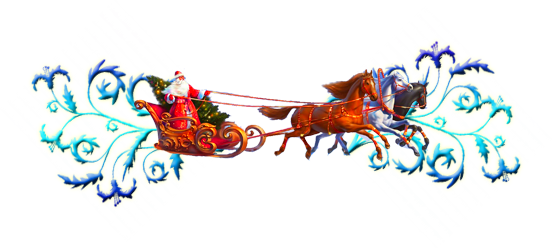 Новогодние открытки. Красивая новогодняя открытка, которую можно использовать в качестве элемента для украшения собственной новогодней открытки. Новогодний клипарт представляет деда Мороза, который, стоя в своих роскошных санях, управляет разноцветной тройкой лошадей, а по краям новогодней открытки – красивые сине-голубые завитушки.