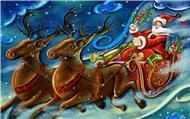 Новогодние открытки. Маленькая, но очень симпатичная новогодняя открытка, которая поражает яркостью красок, несмотря на то, что на картинке изображено ночное небо. И по этому ночному небу, рассекая облака и туманную дымку, мчатся сани дедушки Мороза, запряжённые волшебными оленями. Дедушка Мороз каждый год проделывает этот небесный путь, чтобы развести детишкам подарки.