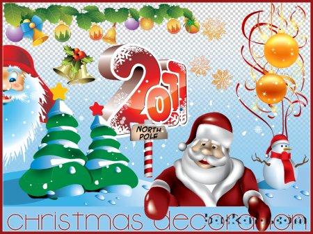 Новогодние открытки. Отличная новогодняя открытка на прозрачном фоне, которую можно использовать для того, чтобы создать новогоднюю открытку своими руками. Красивые новогодние элементы, два дедушки Мороза и снеговик – всё, что нужно для того, чтобы сделать идеальную новогоднюю открытку для Ваших друзей и коллег. Кроме того, новогодняя открытка, сделанная своими руками, даёт Вам возможность вносить изменения в дизайн новогодней открытки, чтобы делать разные варианты для каждого получателя.