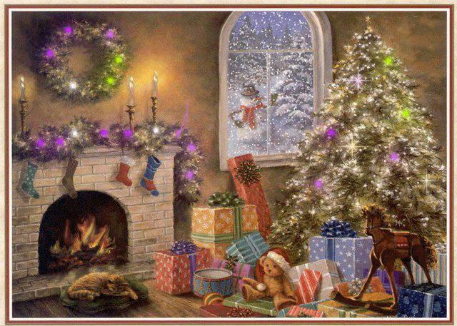Новогодние открытки. Великолепная новогодняя открытка для всех, кто любит кошек, подарки и новогодние праздники. Восхитительные интерьеры дома скрыты за горами новогодних подарков и роскошным новогодним оформлением. У камина мирно посапывает кошка, а за окном стоит замечательный снеговик и идёт снег. Новогодняя открытка создаст у Вас и Ваших близких новогоднее настроение и веру в чудеса.