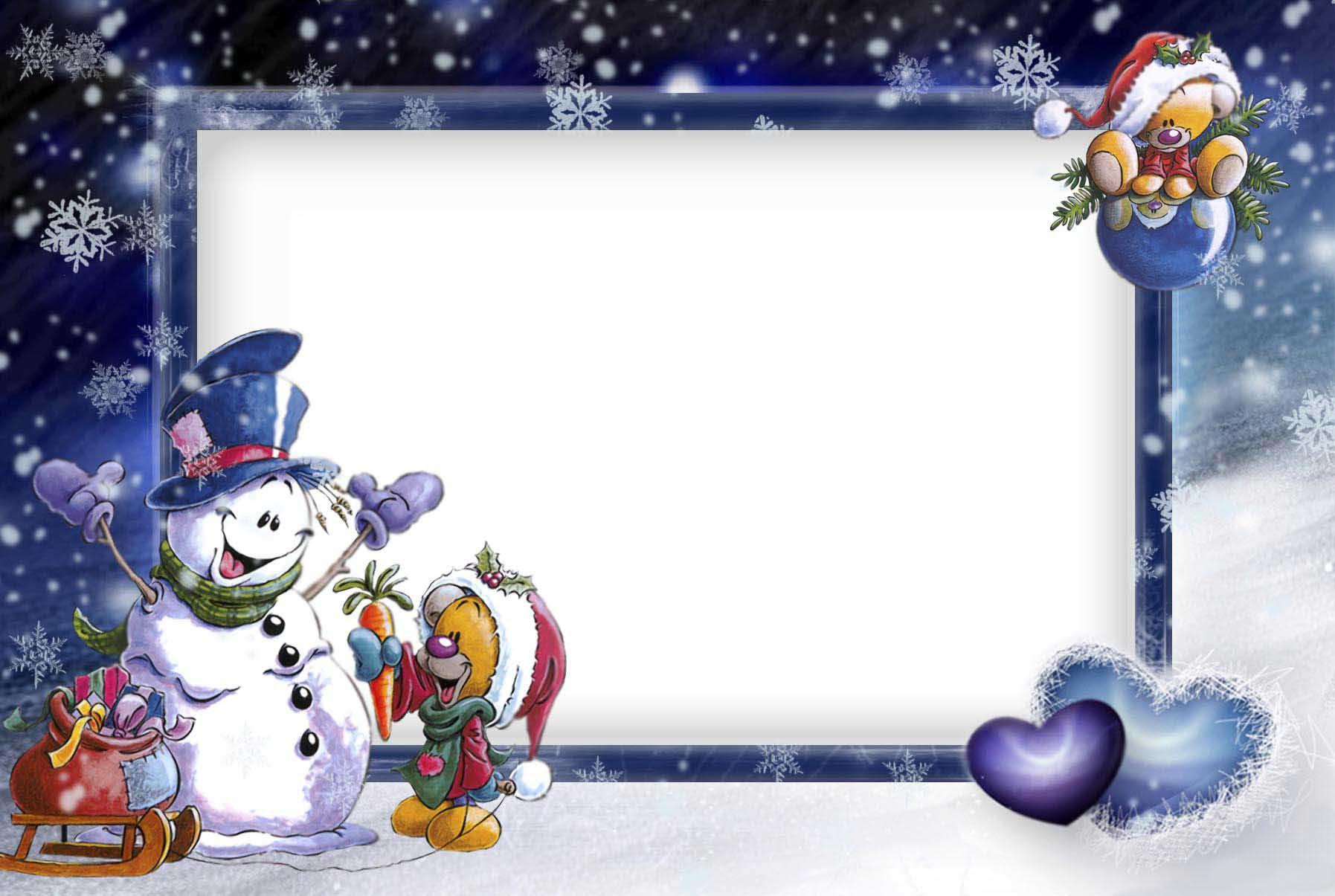 Новогодние рамки. Классная новогодняя рамка на тёмно-синем фоне для горизонтальных фотографий обязательно привлечёт Ваше внимание. Новогодняя рамка с симпатичным снеговичком станет отличным обрамлением для семейных и детских фотографий. Если Вы хотите приятно удивить родных и сделать красивое оформление для рабочего стола Вашего компьютера – новогодняя рамка поможет Вам в этом.