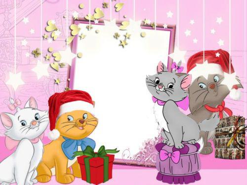 Новогодние рамки. Трогательная новогодняя рамка для детских фотографий, сделанная на фиолетово-розоватом фоне. Украшена новогодняя рамка красивыми звёздами и золотистыми сердечками. Эта новогодняя рамка обязательно понравится тем, кто любит кошек, ведь на этой рамочке целых четыре котёнка готовятся встретить Новый год. Они уже даже подготовили для Вас подарок – эта чудесная новогодняя рамка для фото Вашего малыша.