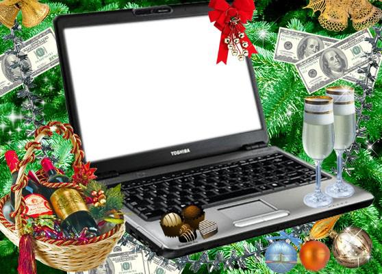 Новогодние рамки. Современная новогодняя рамка, которая совмещает повседневные материальные ценности с духовными. Новый год – это семейный праздник, в который принято откладывать все дела, отдыхать и проводить время с семьёй. Эта новогодняя рамка сделана в виде ноутбука, который лежит в блестящих еловых ветках, украшен долларами, шампанским и ёлочными игрушками.