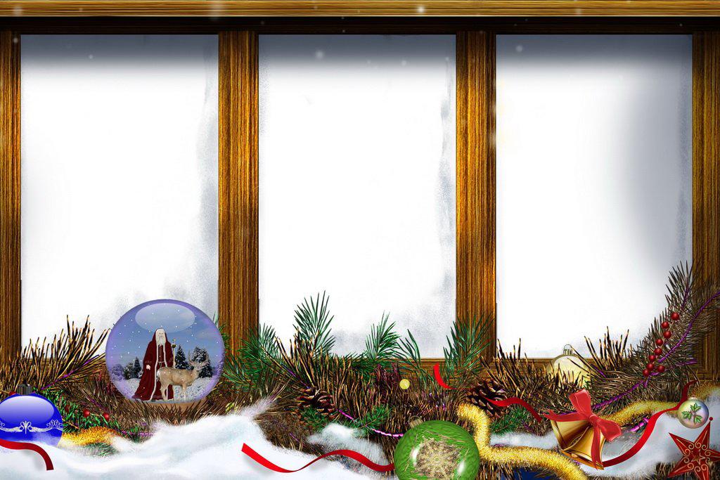 Новогодние рамки. Тройная новогодняя рамка для вертикальных портретов взрослых и детей. Новогодняя рамка сделана в виде деревянного окошка с тремя створками, в которые и вставляются фотографии. Снизу новогодняя рамка украшена еловыми гирляндами и шишками, снежными шарами, колокольчиками и искусственным снегом. Отличная новогодняя рамка, в которую можно вставить разные фотографии и получить единую праздничную картинку.