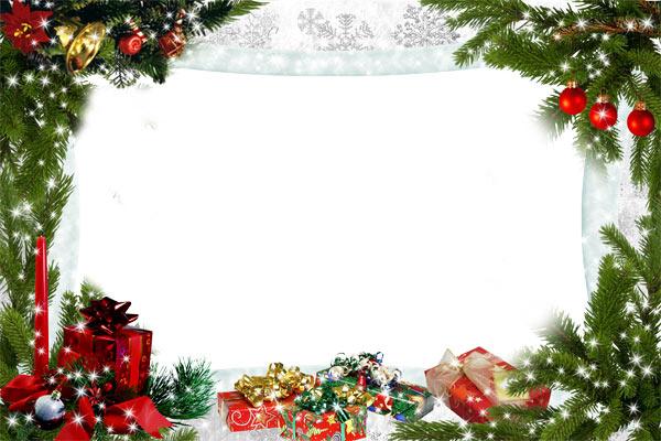 Новогодние рамки. Потрясающая новогодняя рамка для фотографий, которая поможет Вам красиво оформить как детские, так и взрослые портреты. Горизонтальное расположение позволяет ставить фото, на котором изображено сразу несколько людей, что даёт массу интересных возможностей по использованию рамки. Новогодняя рамка для фото с еловыми ветками, подарками и красивыми принтами сделает Ваше новогоднее поздравление интересным и запоминающимся.