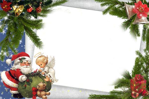 Новогодние рамки. Стильная новогодняя рамка для детских фотографий. Если Вы ищете новогоднюю рамку, которая идеально подойдёт для портретов и мальчиков, и девочек, эта новогодняя рамка то, что Вам нужно. Новогодняя рамка на светло-синем фоне сделана под наклоном, и каждый уголок рамки украшают еловые ветки с разными украшениями. А сбоку от рамки симпатичный ангелочек помогает дедушке Морозу затянуть мешок с подарками, чтобы они не вывалились по дороге.