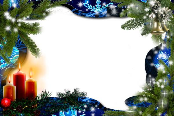 Новогодние рамки. Восхитительная новогодняя рамка для фотографий на тёмно-синем фоне с еловыми ветками и красивыми белыми звёздочками и блёстками. Новогодняя рамка нестандартной формы рассчитана на горизонтальные фотографии. Простое и элегантное оформление позволяет ставить как детские, так и взрослые портреты.