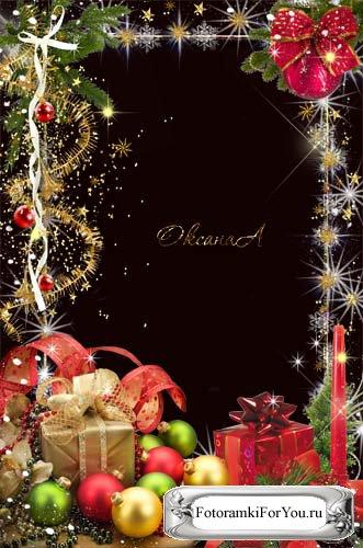 Новогодние рамки. Восхитительная новогодняя рамка для вертикальных фотографий, сделанная из пушистой блестящей мишуры, звёздочек и блёсток. Вертикальная новогодняя рамка украшена еловыми ветками с ёлочными игрушками, внизу, среди блестящих ёлочных шаров, стоят замечательные подарки, которые так и хочется развернуть. Новогодняя рамка вся сияет и искрится, и создаёт праздничное настроение. Если Вам нужна идеальная новогодняя рамка, которая никого не оставит равнодушным, новогодняя рамка из праздничной мишуры – лучший выбор!