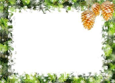 Новогодние рамки. Элегантная новогодняя рамка для фотографий рассчитана на горизонтальные портреты и групповые снимки. Новогодняя рамка сделана таким образом, что Вы всего в один клик можете сделать её вертикальной, чтобы вставить подходящую фотографию. Новогодняя рамка представляет собой зелёную окантовку из еловых веток за морозным стеклом с чудесными шишками в углу.