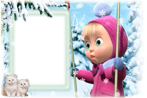 Новогодние рамки. Милая детская новогодняя рамка для вертикальной фотографии на нежно-голубом фоне заснеженного пейзажа. Над рамочкой нависает роскошная еловая лапа, покрытая снегом, а снизу рамки сидят двое чудесных белоснежных котяток. Новогодняя рамка для детских фото поможет Вам сделать праздничное оформление для рабочего стола Вашего ноутбука.
