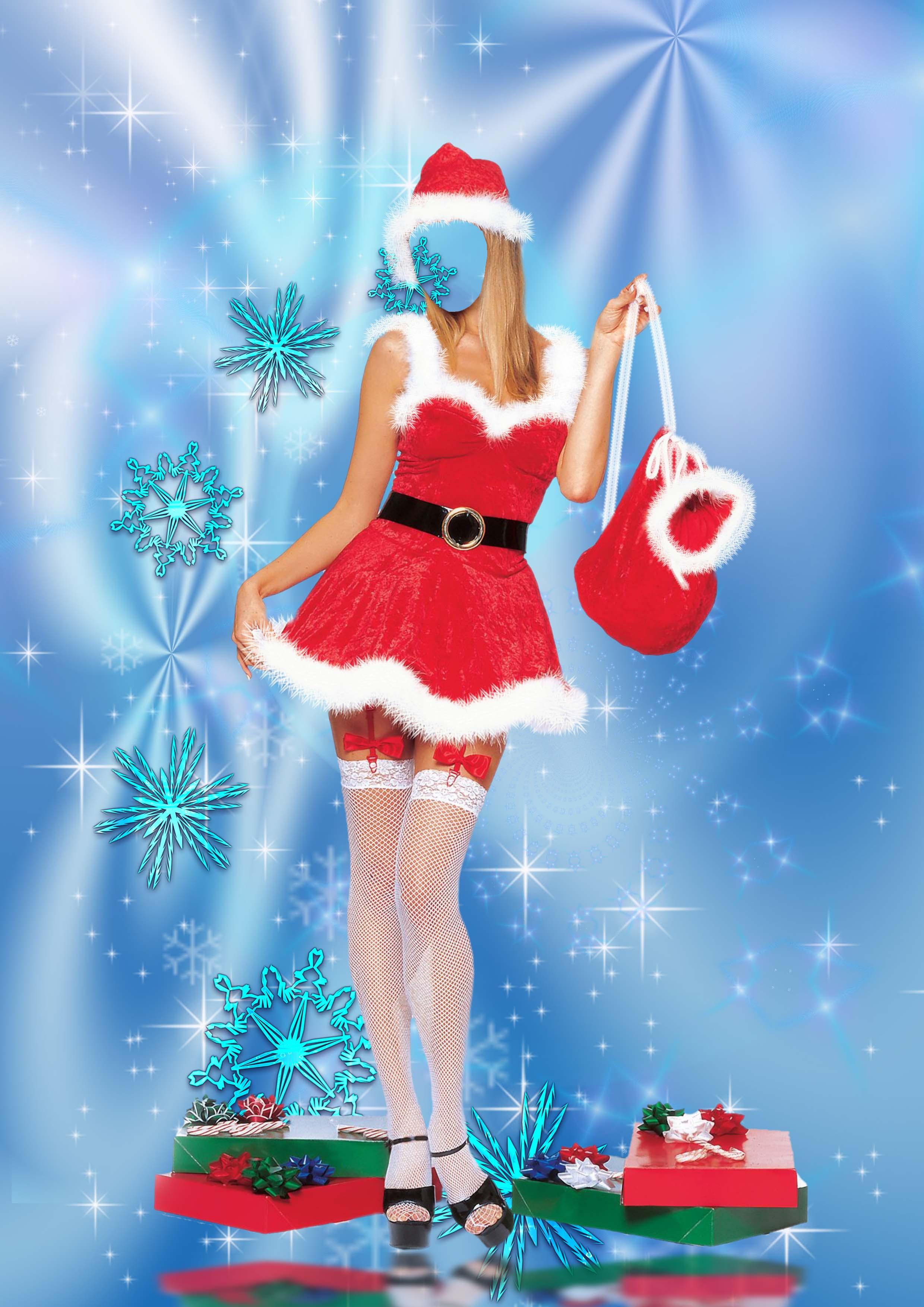 Новогодние рамки. Огромная новогодняя рамка на голубом шёлковом фоне, украшенном белыми звёздами и узорными снежинками. Новогодняя рамка для девушек и для молодых людей, которые хотят сделать оригинальный портрет любимой девушки. Эротическая новогодняя рамка шаблон – красивая девушка в довольно фривольном красном новогоднем костюмчике и белых чулочках держит мешок с подарками. У ног девушки тоже лежат коробки с подарками, завёрнутые в красивую подарочную бумагу с бантом.