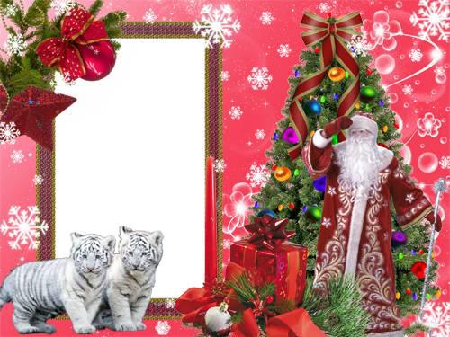Новогодние рамки. Небольшая новогодняя рамка на розовом фоне для детских и семейных фотографий. Новогодняя рамка для вертикальной фотографии украшена чудесными снежинками и еловыми ветками с новогодними шариками. Но главное украшение – конечно же, новогодняя ёлка с подарками и дедушка Мороз. Двое замечательных белых тигрят идеально дополняют эту новогоднюю рамку для фотографий.