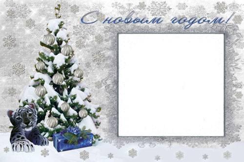 Новогодние рамки. Восхитительная новогодняя рамка для детей и семейных портретов. Если Вам нужна красивая новогодняя рамка в спокойных тонах – Вы нашли то, что искали. Отличная новогодняя рамка, фон которой полностью сделан из снежинок. Новогодняя рамка украшена красивой новогодней ёлочкой, под которой лежат не только подарки, но и хорошенький тигрёнок.