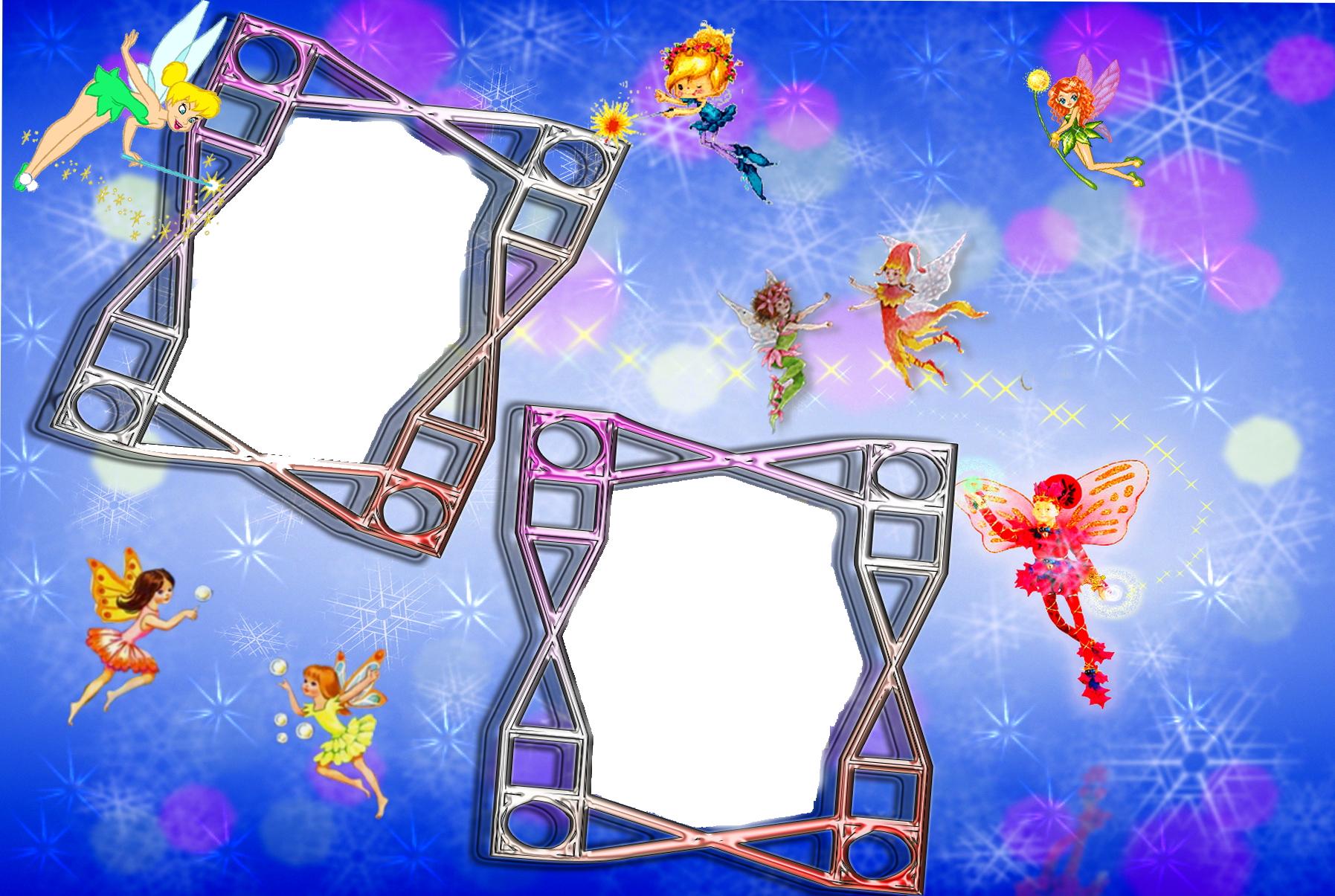 Новогодние рамки. Волшебная новогодняя рамка большого размера для двух фотографий. Чудесный синий фон кажется разноцветным из-за обилия звёздочек, снежинок и бликов. А весёлые феи летают по этому фону будто по небу. Рамочки рассчитаны на вертикальные фотографии, лучше всего подойдут крупные портреты. Замечательная новогодняя рамка для всех, кто любит делать сюрпризы.