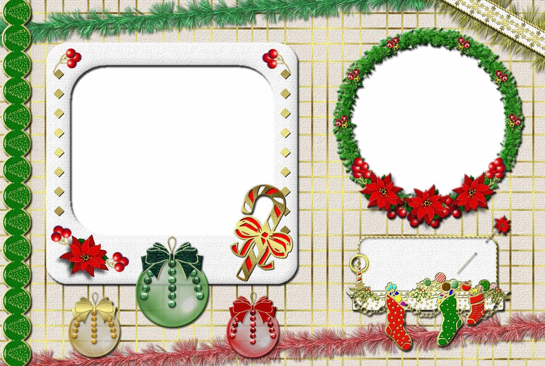 Новогодние рамки. Огромная новогодняя рамка высокого качества сделана в классическом стиле. Эта новогодняя рамка рассчитана на два или три портрета, и украшена красивыми атрибутами Нового года и Рождества. Новогодние рамки здесь украшены по-разному. Есть и прозрачные разноцветные шарики с бантиками, и конфеты в виде трости, и носки, в которые кладут подарки. Даже рождественский венок обрамляет одну из рамочек. Эта новогодняя рамка подойдёт для семейных портретов и фотографий детей.