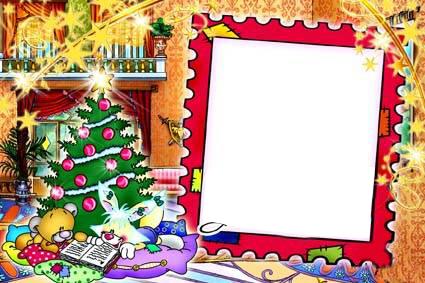 Новогодние рамки. Небольшая, но очень симпатичная и уютная новогодняя рамка для детских вертикальных фотографий. Новогодняя рамка для фото сделана в форме почтовой марки, но раскрашена под тёплое лоскутное одеяло с разноцветными вставками. Фон новогодней рамки сделан в виде роскошной гостиной, где уютно расположилась нарисованная пышная зелёная красавица-ёлка, а на подушках возле неё мишка с зайчонком читают книжку. Отличная новогодняя рамка для оформления детских фотографий.