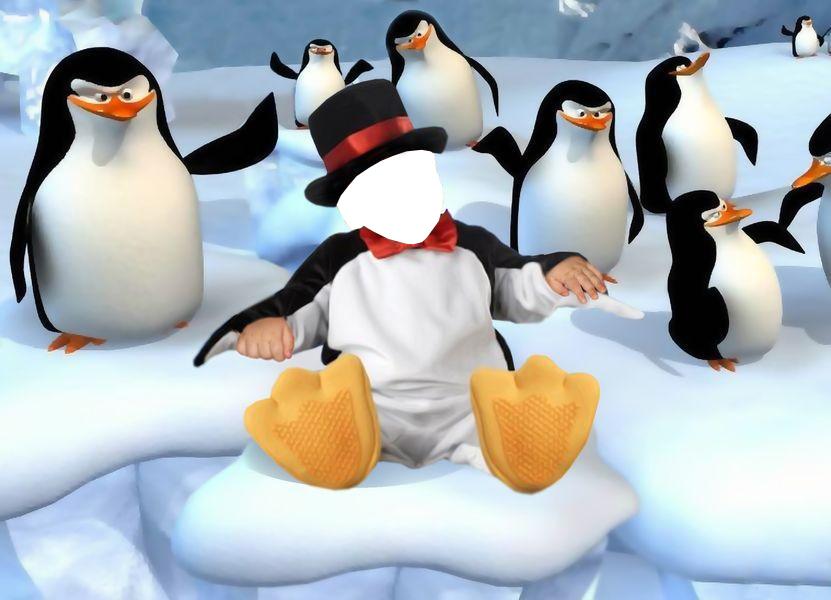 Новогодние рамки. Детская новогодняя рамка с пингвинами. Отличная новогодняя рамка, которая позволяет из обычной фотографии сделать оригинальный фотоколлаж. Лицо ребёнка при помощи фотошопа вставляется  в костюм пингвинёнка, сидящего на льдине вместе с пингвинами. Забавная новогодняя рамка, которая обязательно Вам понравится.