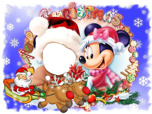 Новогодние рамки. Яркая новогодняя рамка небольшого размера. В эту новогоднюю рамку нужно подставить не целую фотографию, а только лицо ребёнка от года до трёх лет. Голову малыша украшает красная шапка деда Мороза, а рядом с ним – девочка Микки-Мауса. На переднем фоне спешит к детишкам дедушка Мороз в своих волшебных санях. Замечательная новогодняя рамка-шаблон для детей.