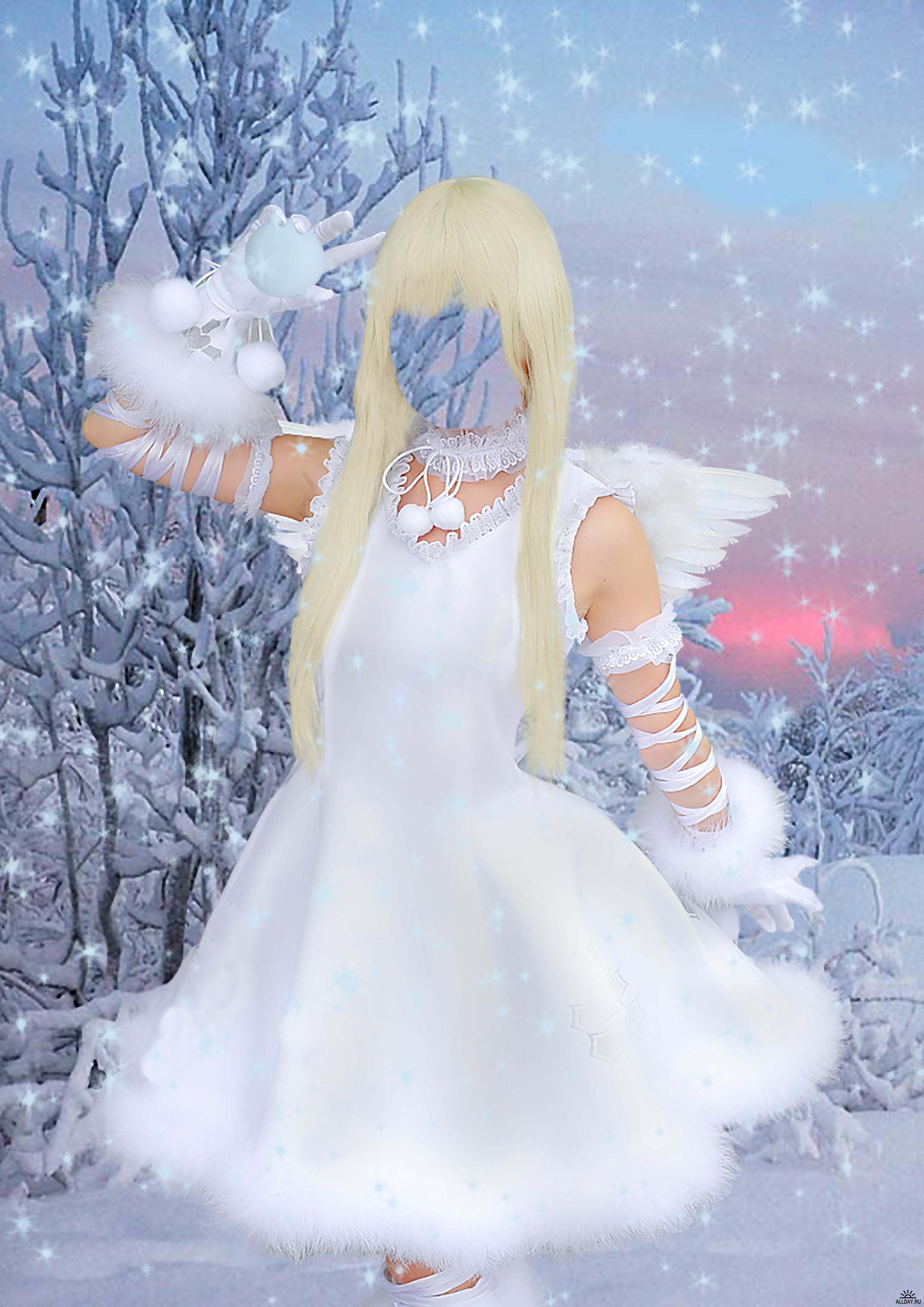 Новогодние рамки. Восхитительно нежная новогодняя рамка для девушек. Прекрасный зимний пейзаж с закатным небом украшен сияющими звёздами и блёстками, а на фоне природы стоит красивая блондинка в костюме ангела. Новогодняя рамка даёт возможность каждой девушке почувствовать себя ангелочком и проверить, идёт ли ей светлый цвет волос. Замечательная новогодняя рамка станет главной новостью на Вашей работе или в институте.