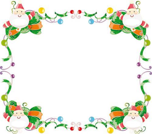 Новогодние рамки. Новогодняя рамка для оформления коллажей с использованием детских фотографий. Если Вы хотите самостоятельно сделать отличную новогоднюю рамочку, то данная новогодняя рамка придётся как нельзя кстати. Новогодняя рамка представляет собой зелёные завитушки, а в уголках рамки симпатичные деды Морозы.