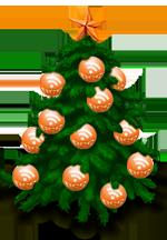 Новогодняя RSS в виде ёлки, украшенной оранжевыми шариками - иконками RSS