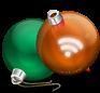 Новогодние RSS - тёмно-оранжевая  иконка RSS  в виде ёлочного шара рядом с зелёным ёлочным шаром