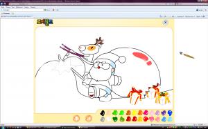 Рождественская раскраска с Санта Клаусом и оленем
