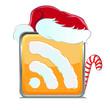 Новогодняя иконка RSS в рождественском красном колпаке и с леденцом