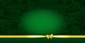 Зелёный фон с еловыми веточками и золотистым бантиком