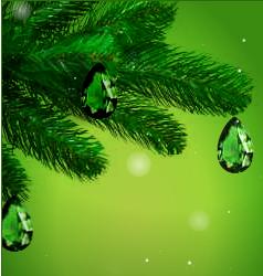 Зелёные веточки ёлки, украшенные изумрудами