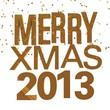 Коричневая надпись на белом фоне: merry xmas 2013