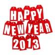 Надпись happy new year 2013 выполнена на белом фоне, белыми буквами с красным ореолом.