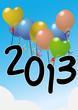 Летящая на шариках надпись 2013.