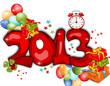 Весёлая надпись 2013 украшенная разноцветными воздушными шариками, коробками с подарками и даже будильником показывающим 12 часов.