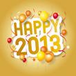 Надпись Happy 2013 украшенная разноцветными воздушными шариками.