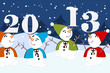 Весёлые разноцветные снеговики держать на носах (морковках) цифры 2013.